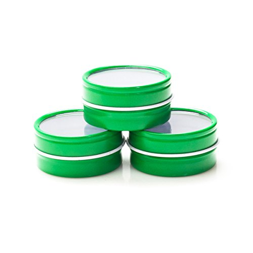 Mimi Pack 3 oz Shallow Round Metal Tin Can Clear Window Top Lid Steel Containers For Favors, Spices, Balms, Gels, Candles, Gifts, Storage 24 Pack (Green) ()