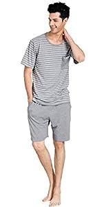 Suntasty Men's Summer Sleepwear Striped Short Sleeve Pajama Shorts and Top Set