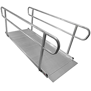 8' Aluminum Wheelchair Entry Ramp & Handrails Surface Scooter Mobility Access