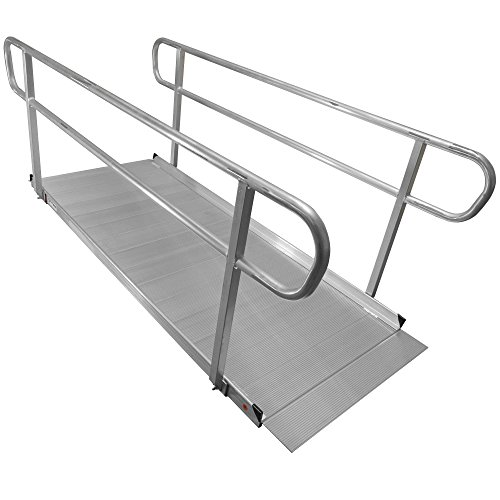 8' Aluminum Wheelchair Entry Ramp & Handrails Surface Scooter Mobility Access by Titan Ramps