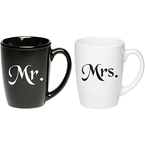 Mr. & Mrs. Coffee Mugs, Black and White Set of Curved Java Ceramic 12 oz Mugs, Married Couple Gifts