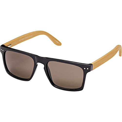 Blue Planet Eyewear Nico Sunglasses - Polarized Black/Natural Bamboo/Smoke Polarized, One - Blue Eyewear Planet