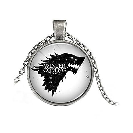 Collar Metalupo Stark Sobre Fondo Blanco Game Of Thrones Winter Is