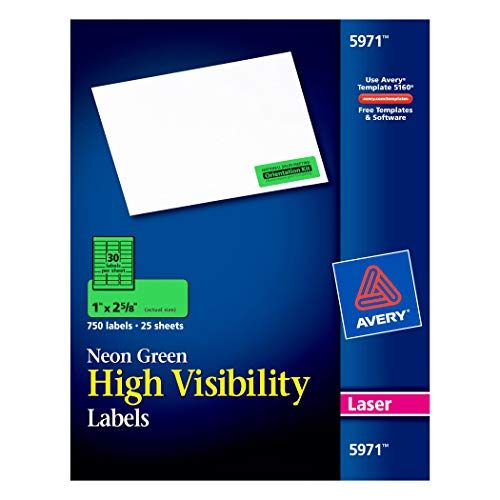 (Avery High Visibility 1 x 2 5/8 Inch Fluorescent Green Labels 750 Pack (5971))