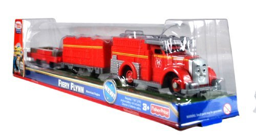 "Fisher Price Year 2011 Thomas and Friends DVD Series As Seen On ""Day of the Diesels"" Trackmaster Motorized Railway Battery Powered Tank Engine 3 Pack Train Set - FIERY FLYNN the Fire Engine with Fire Rescue Trailer and Flatbed Trailer (V8838)"