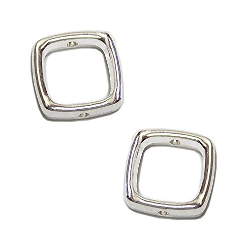 METAL BEAD FRAME 14mm SQUARE SINGLE STRAND BRIGHT ANTIQUE SILVER 10pc