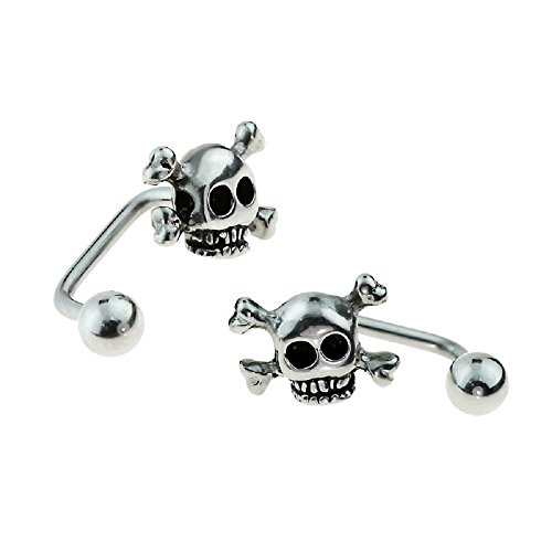 Freedom Fashion 316L Surgical Steel Lippy Loop w/Skull Labret/Monroe (Sold by Piece) - Gold Skull Labret