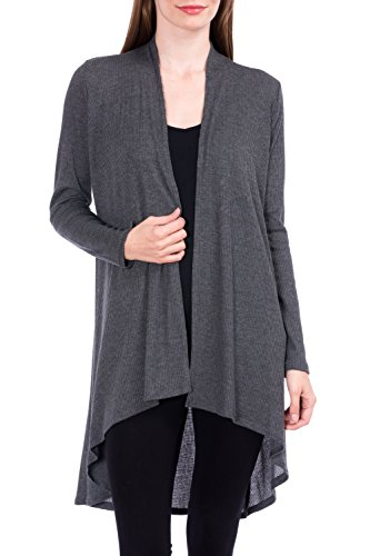 Modern Kiwi Solid Essential Long Cascading Cardigan Charcoal Ribbed Extra Large