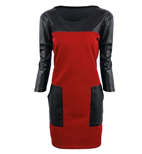 Package Stitching Red Dress Hip Comfy Color Pockets Womens Pure Leather nTWwYZpq