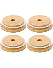 4Pcs Mason Jar With Bamboo And Wood Lid Wooden Glass Jar Lid With Straw Hole Milk Tea Drink Juice Glass Lid