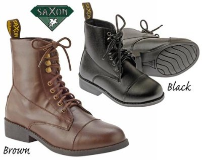 Saxon Equileather Ladies Lace Up Paddock Boot - Size 11 Brown