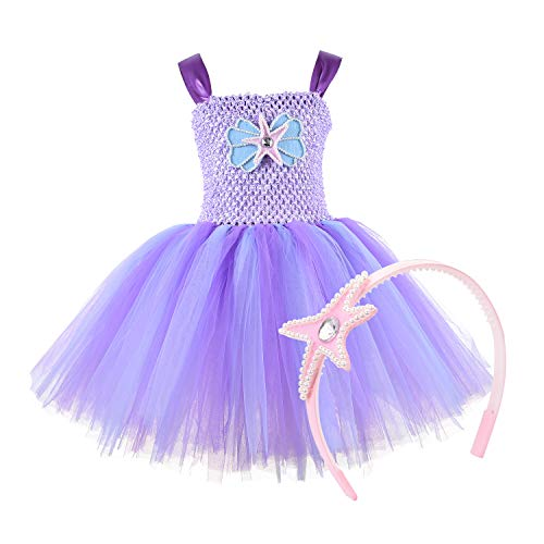 (Mermaid Tutu Dress with Headband Mermaid Dress for Girls Purple Tutu Dress Tulle Costume Outfit for Party,Cosplay 2T 4T 6T)