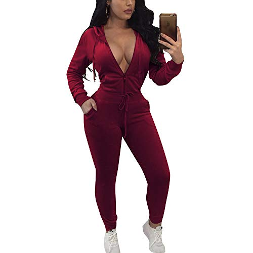 (ECHOINE Women's Sexy Bodycon Jumpsuit Hoodie Long Sleeve 2 Piece Tracksuits with Pockets Wine red S)