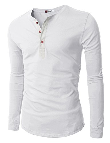 H2h mens henley casual slim fit long sleeve t shirt white for Mens long sleeve slim fit henley shirts