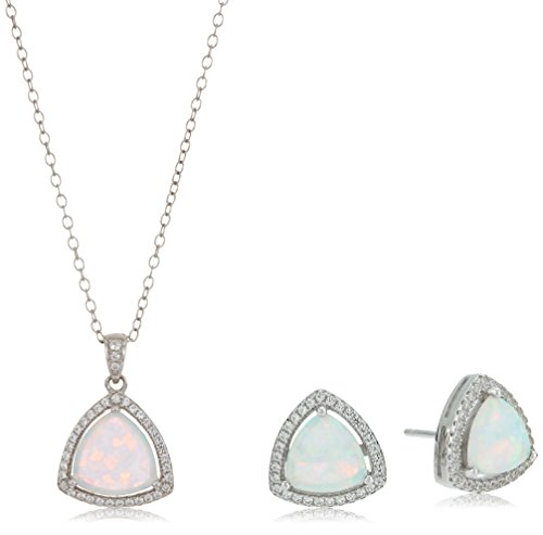 Sterling Silver Created Opal And Created White Sapphire Trillion Cut Halo Pendant And Stud Earrings Set, 18