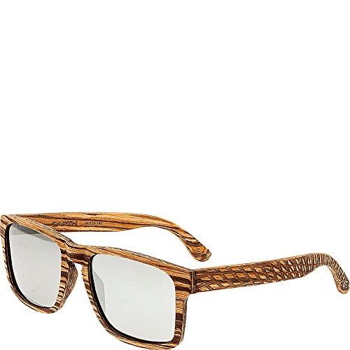 Earth Wood Whitehaven Polarized Wayfarer Sunglasses, Zebra Walnut//Black, 54 mm - Earth Sunglasses Polarized Wood