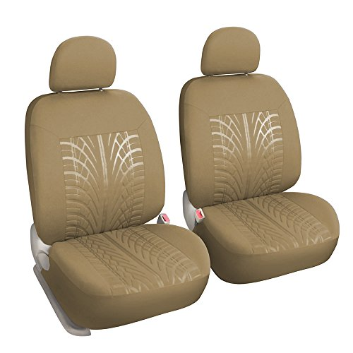 Leader Accessories 2 Car Front Seat Covers with Airbag Embossed Low Back Seat Protector, Universal Fits Truck SUV Tan Color