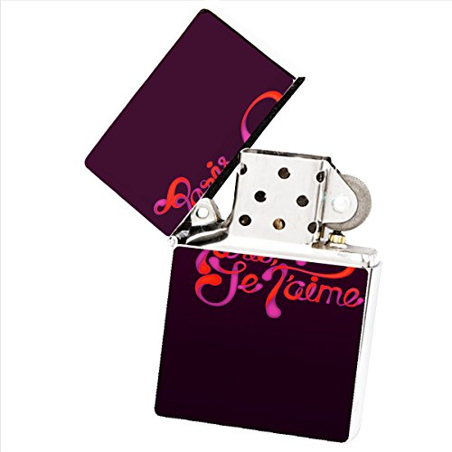Paris Je Taime White Flip Top Cigarette Lighter