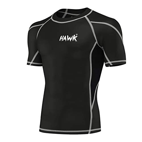 Mens Compression Shirts Base Layer Athletic Gym MMA BJJ Rash Guard No Gi Short Sleeve Rashguard Shirt for Men