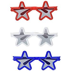 """Amscan 4th of July Party Patriotic Assorted Star Shaped Sunglasses (12 Piece), Red/White/Blue, 9.5 x 5.75"""""""