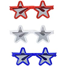 Amscan 4th of July Party Patriotic Assorted Star Shaped Sunglasses (12 Piece), Red/White/Blue, 9.5 x 5.75""