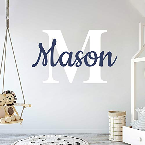 "Custom Name & Initial - Prime Series - Baby Boy Girl Unisex - Wall Decal Nursery for Home Bedroom Children (Wide 22"" x 15"" Height) from cryptonite"