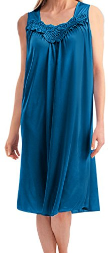 Ezi Women's Satin Silk and Lace Sleeveless Lingerie Nightgown,Large,Jewel (Jewel Sleeveless Satin)