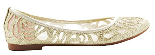 Scarpe Da Donna Walstar Glitter Balletto Piatto Slip On Flat Shoes Gold