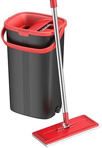 [해외]TETHYS 평평한 바닥 대걸레 및 버킷 세트 알루미늄 손잡이가 달린 전문 가정용 바닥 청소 시스템용2-세척 가능한 극세사 패드 완벽한 가정 + 나무 목재 라미네이트 타일 비닐 용 주방 클리너 / TETHYS Flat Floor Mop and Bucket Set for Profession...