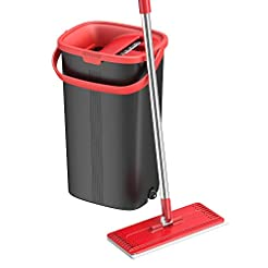 TETHYS Flat Floor Mop and Bucket Set for...