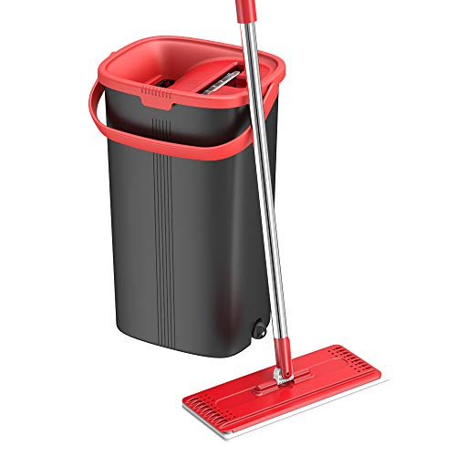 TETHYS Flat Floor Mop and Bucket Set for Professional Home Floor Cleaning System with Aluminum Handle/2-Washable Microfiber Pads Perfect Home + Kitchen Cleaner for Hardwood