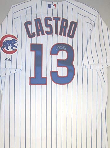 Cubs Starlin Castro Autographed Official Majestic Pinstripe Jersey (Size XL) Signed - Certified Authentic