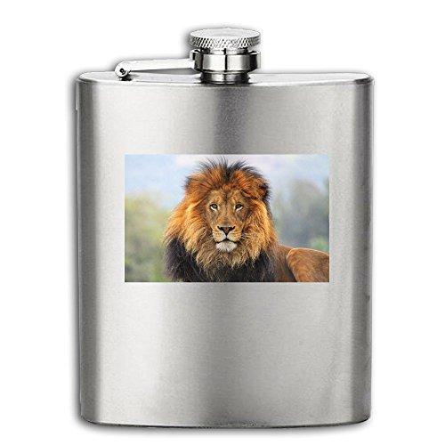 Hip Flask For Liquor Men's Big Cat Lion Pattern 3 Stainless Steel Bottle Unisex