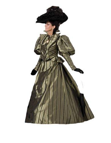 [Women's Olive Gold Victorian Era Dress Theater Costume M] (Victorian Era Womens Costumes)