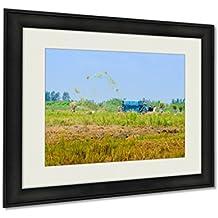 Ashley Framed Prints, Wheet Havest An Giang Long Xuyen Farmer Working Field Rice Breakers Machine, Wall Art Decor Giclee Photo Print In Black Wood Frame, Ready to hang, 20x25 Art, AG6091591