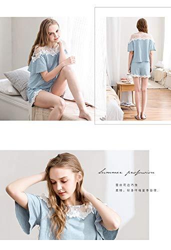 Dos Mujer Piezas Xl Cortos Servicio Corta Baujuxing Algodón De Pantalones M Malla Cuello Hogar Pijamas Traje Manga Redondo Para Verano waqpY