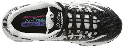 Skechers Sport Womens DLites Memory Foam Lace-up Sneaker Black/White Sequin 3XMKX