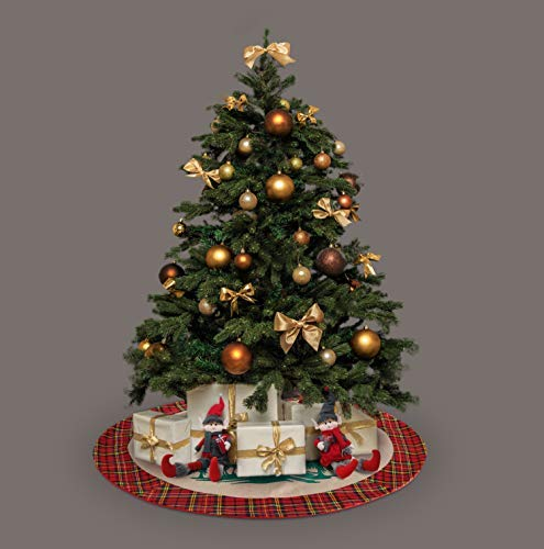 Kingstar Craft 42 inches Burlap Christmas Tree Skirt with Reindeer in The Woodland Collection for Christmas Decorations