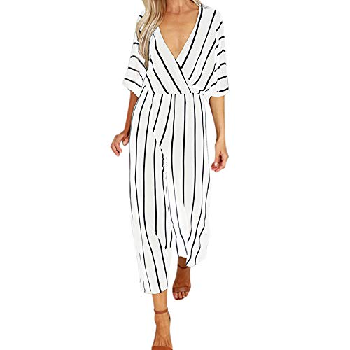 (Jumpsuits and Rompers for Women Striped V Neck Half Sleeve Flowy Straight Wide Leg Loose Elegant Casual Playsuit (L, White))