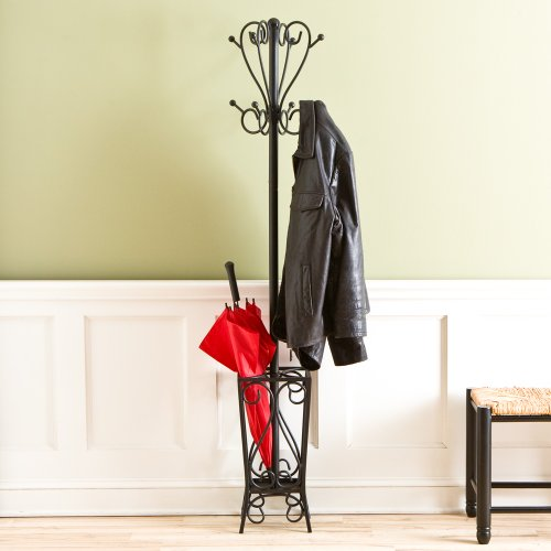 FurnitureMaxx Metal Coat Rack Hall Tree Umbrella Stand, Matte Black Finish