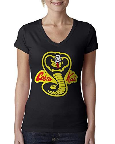 Cobra Kai Ladies V-Neck T-Shirt Medium Black -