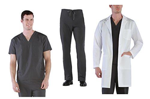 (Tru Basic Unisex Professional Medical Uniform 3-Piece Scrub Set (Pewter, Small))