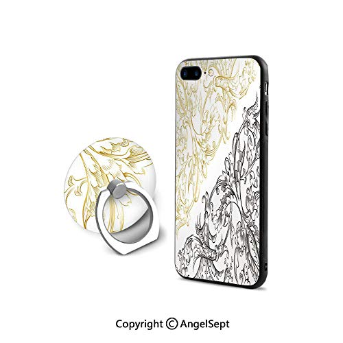 Protector for iPhone 7/8 with 360°Degree Swivel Ring,Floral Arrangement Two Palette Flowers Curls Swirls Leaves Petals,Cushion Protective Cute Case,Yellow Black