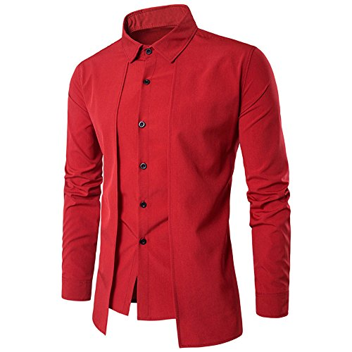 iYBUIA Luxury Men Casual Pure Shirt Long Sleeve Formal Business Slim Dress Shirt T Shirt Top(Red,XL)