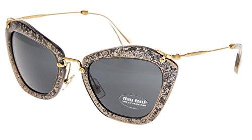 - MIU MIU NOIR MU10NS Grey Smoke Glitter Gold Sunglasses 10N Geometric Mirrored Women