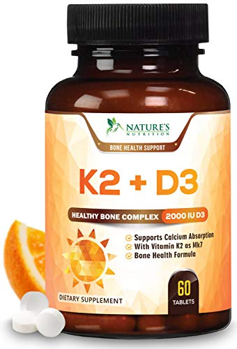 Vitamin K2 (MK7) with D3 Supplement - Highest Potency Vitamin D & K Complex, Chewable for Better Absorption, Made in USA, Best Vegan Support for Your Heart, Bones & Teeth, Non-GMO. 60 Veggie Tablets (Vegetable 60 Tablets)