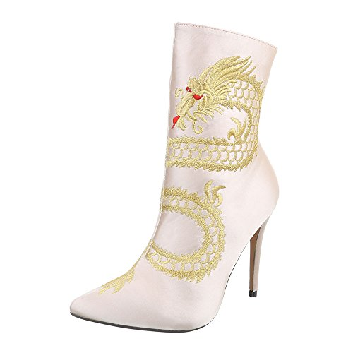 Ital-Design High Heel Stiefeletten Damenschuhe High Heel Stiefeletten Pfennig-/Stilettoabsatz High Heels Reißverschluss Stiefeletten Beige HP-57