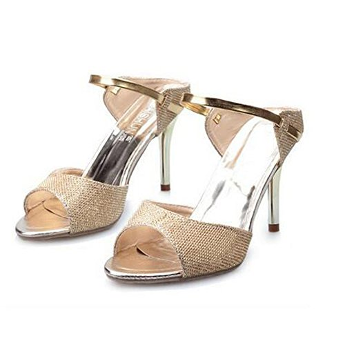 Pumps Shoes ANDAY Ankle Sandals Stiletto Slippers Gold Shiny Heeled High Strap Women vrqrE