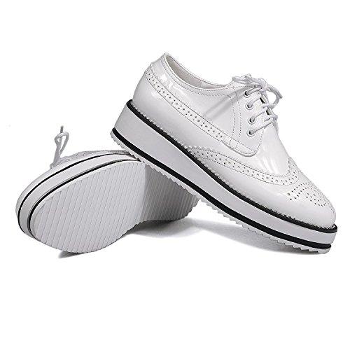 Show Shine Womens Fashion Lace Up Platform Oxfords Shoes White PDao4m