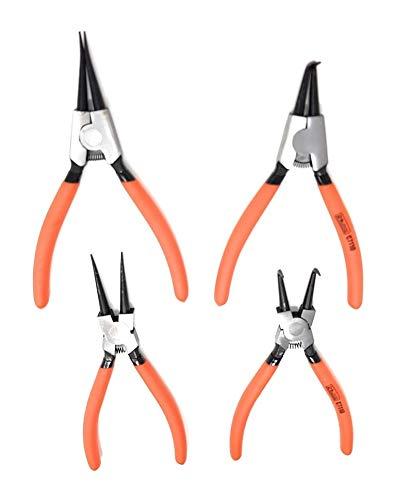180 mm para interior y exterior Alicates profesionales para anillos de retenci/ón 5 piezas
